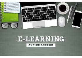 在线教育主题桌面上的办公物品矢量背景
