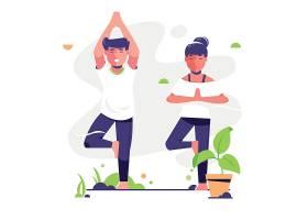 瑜伽全民健身日锻炼身体瑜伽课堂扁平化插画设计