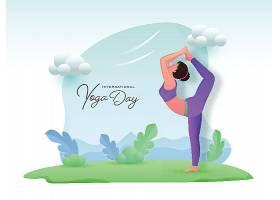 瑜伽日卡通插画风做瑜伽健身的女孩