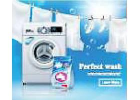 洗衣机与衣服洗涤产品宣传海报