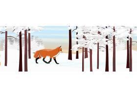 雪地里的狐狸装饰插画背景设计