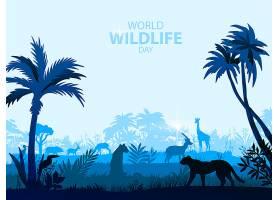 热带原始森林的动物们矢量插画设计