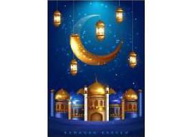 创意开斋节主题月亮灯饰装饰背景设计
