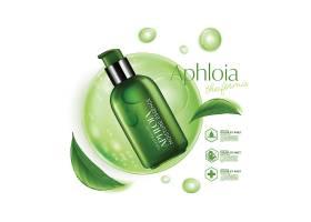 绿色植物精华主题护肤品化妆品产品展示海报设计