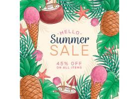 Su手绘植物叶子围绕你好夏天主题促销标签设计