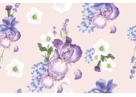 清新手绘植物叶子花卉无缝装饰背景素材