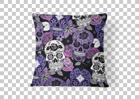 头骨投掷枕头Calavera骨头,头骨图案PNG剪贴画紫色,纺织,扔枕头,