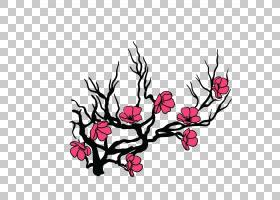 花樱花插图简单的手绘樱花树扣免费PNG剪贴画水彩画,插花,画,摄影