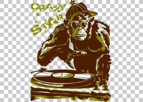 T恤帽衫猿猿赛马DJ混音器,猴子PNG剪贴画哺乳动物,动物,脊椎动物,