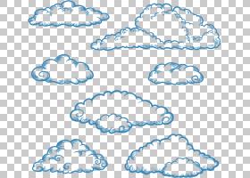 云绘图欧几里德,手绘云轮廓,云插图PNG剪贴画水彩绘画,边框,蓝色,