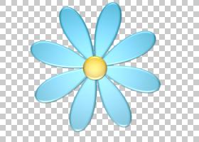 蓝黄色,精致的花瓣PNG剪贴画对称性,花,买断式授权,水色,绘画,性
