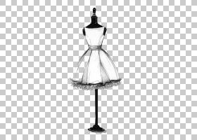 绘画服饰艺术素描,时装设计,躯干模特与白色连衣裙插图PNG剪贴画