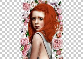红头发玫瑰绘图插图,背景画玫瑰和红头发的女孩PNG剪贴画水彩画,