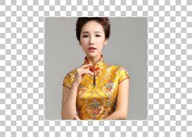 服装袖旗袍普通话领连衣裙,中式婚礼PNG剪贴画时尚,黄金,上衣,时图片