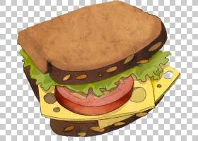 打开三明治早餐三明治汉堡火腿和奶酪三明治,错字PNG剪贴画食品,