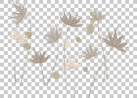 插图,墨水莲花PNG剪贴画叶,分支机构,生日快乐矢量图像,植物茎,插