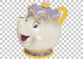 Potts Belle美女和野兽茶壶,紫泥茶壶PNG剪贴画茶,材料,野兽,美女