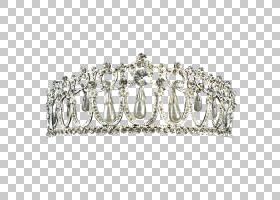银冠皇冠头饰仿宝石和水钻,珍珠PNG剪贴画头饰配件,头饰,金,金属,