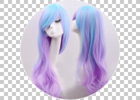 原宿萝莉时尚假发Cosplay连衣裙,男孩头发假发PNG剪贴画紫色,紫罗