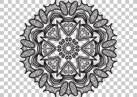 黑白模式,印度曼荼罗PNG剪贴画对称性,单色,材料,桌巾,单色摄影,