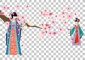 国家樱花节插图,经典美樱桃树下PNG剪贴画树科,时尚,装饰,棕榈树,
