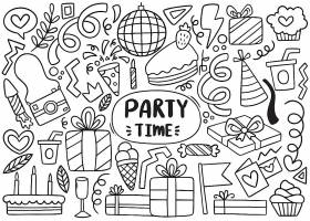 手绘派对主题线条插画装饰背景设计