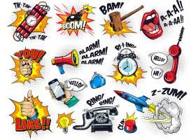 创意卡通漫画风格爆炸主题装饰标签元素设计