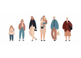 不同年龄段的女性成长过程矢量插画设计