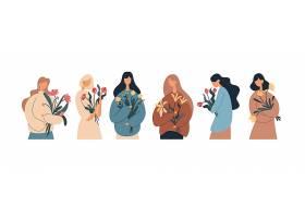 抱着花的年轻文艺女性矢量插画设计