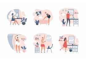 洗澡沐浴化妆打扮主题插画设计