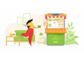 网上购物送餐主题矢量插画设计
