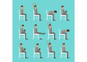办公室瑜伽主题人物动作分解插画设计