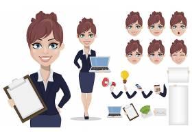 年轻漂亮的商务女性人物矢量插画设计