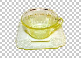 餐具玻璃碗杯碟飞碟PNG剪贴画玻璃,碟,碗,杯,餐具,餐具,餐具,黄色