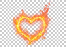 火火焰爱心脏水彩燃烧的心PNG剪贴画橙色,心,计算机壁纸,桌面壁纸
