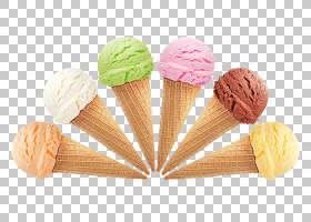 冰淇淋冰淇淋冰淇淋冰淇淋锥体糖衣锥上的六种什锦冰淇淋PNG clip