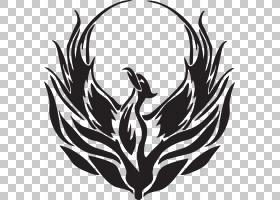 凤凰绘画传奇生物符号凤凰凤凰飞鸟插图PNG剪贴画叶,徽标,鸡,单色