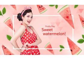 时尚美女与水果元素主题创意海报设计图片