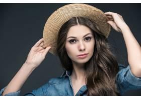 女人,模特,,妇女,女孩,帽子,黑发女人,长的,头发,棕色,眼睛,壁纸,图片