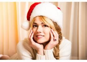 女人,模特,,妇女,女孩,微笑,白皙的,圣诞老人,帽子,脸,壁纸,图片