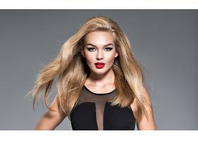 女人,模特,,妇女,女孩,白皙的,口红,蓝色,眼睛,长的,头发,凝视,壁