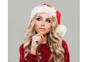 女人,模特,,妇女,女孩,白皙的,圣诞老人,帽子,脸,壁纸,图片