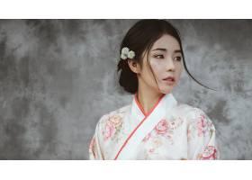 女人,亚洲的,妇女,模特,女孩,和服,黑色,头发,棕色,眼睛,壁纸,(1)图片