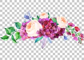 鲜花婚礼请柬水彩,花卉,插花,切花,玫瑰家族,花卉设计,花瓣,紫色,