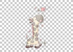 长颈鹿卡通,颈部,头部,粉红色,长颈鹿,闪烁,绘画,可爱,水彩画,绘