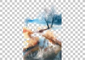 树木水彩画,油漆,天空,树,水彩画,山水画,书,福井,绘画,水彩画,