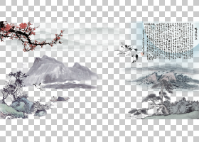 冬树,黑白,绘图,字体,设计,树,冬天,景观,山水画,油漆,海报,山水,