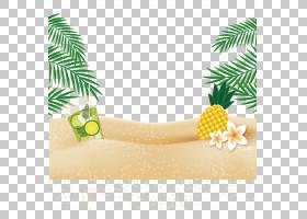 网页横幅If(we)标签服务菠萝滩海滩上的菠萝数字艺术PNG剪贴画