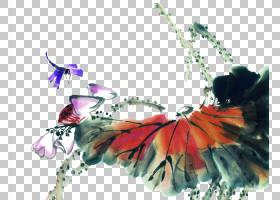 水墨水彩画插图水彩莲花素材PNG剪贴画水彩叶子,画,摄影,手,海报,