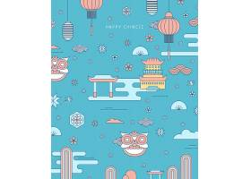 清新卡通手绘中国风图案装饰背景设计